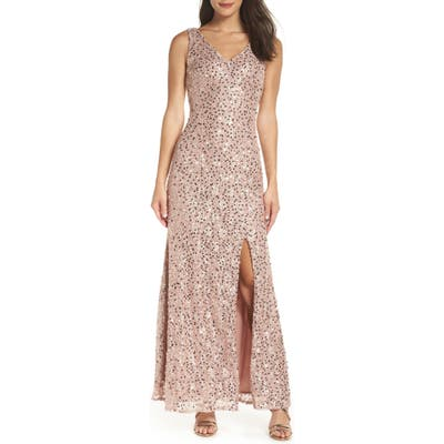 Morgan & Co. Sequin & Lace Gown, Metallic