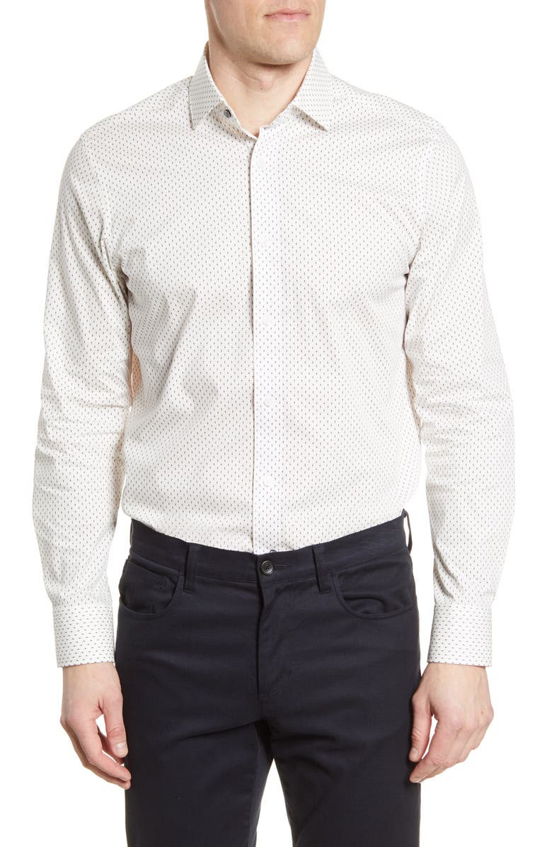 PSYCHO BUNNY Slim Fit Stretch Non-Iron Dot Dress Shirt, Main, color, 515