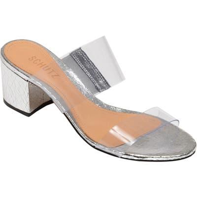 Schutz Victorie Slide Sandal, Metallic