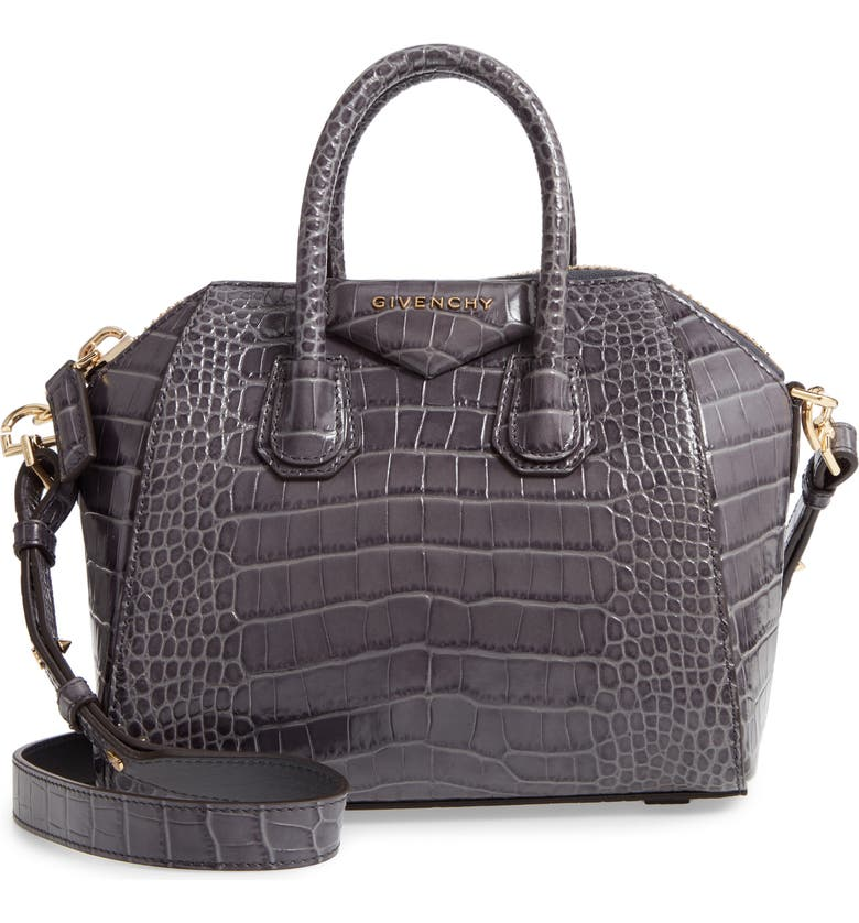 GIVENCHY Mini Antigona Croc Embossed Calfskin Leather Satchel, Main, color, STORM GREY