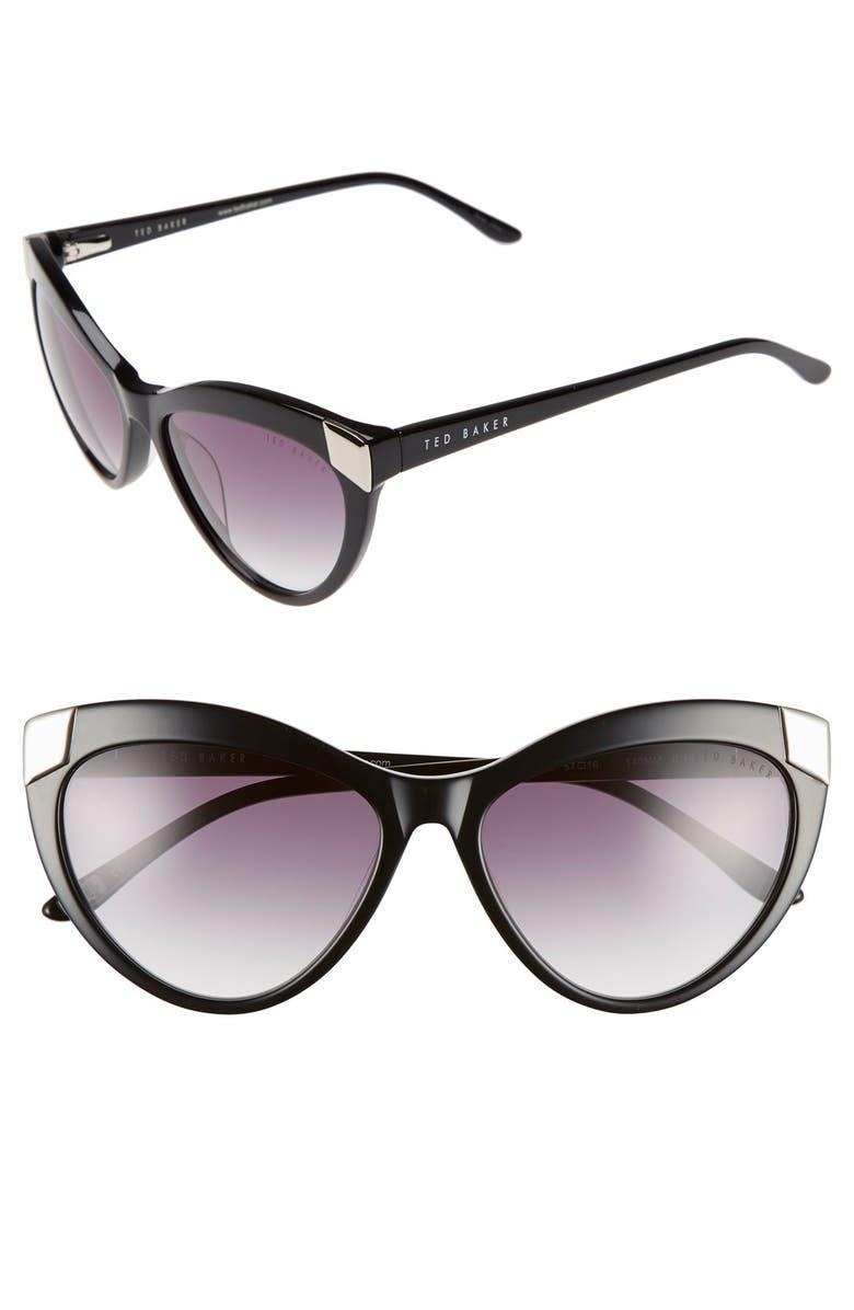 TED BAKER LONDON 57mm Cat Eye Sunglasses, Main, color, 001