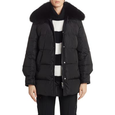 Moncler Mesange Quilted Down Puffer Coat With Removable Genuine Fox Fur Collar, (fits like 8-10 US) - Black