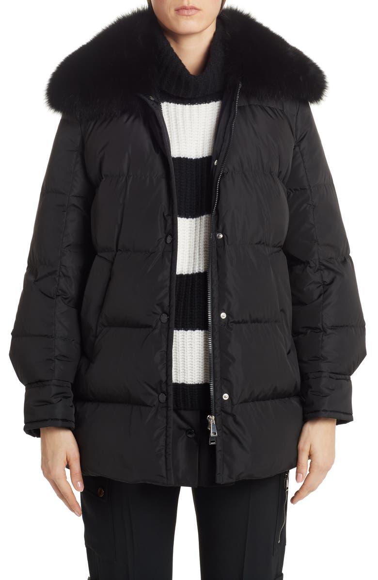 MONCLER Mesange Quilted Down Puffer Coat with Removable Genuine Fox Fur Collar, Main, color, BLACK