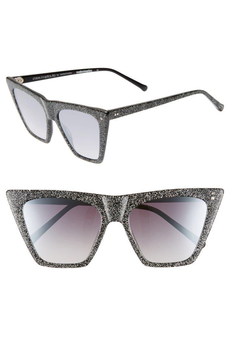 COLORS IN OPTICS Metropolitan 55mm Flat Top Sunglasses, Main, color, BLACK/ SPARKLE