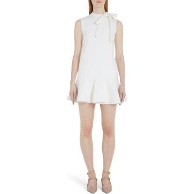 Valentino Tie Neck Ruffle Hem Wool Blend Minidress, US / 46 IT - Ivory