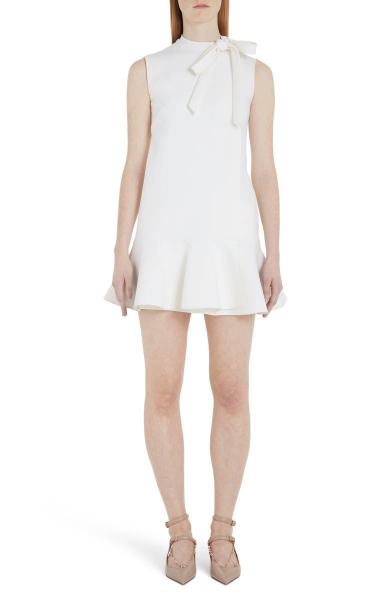 VALENTINO Tie Neck Ruffle Hem Wool Blend Minidress, Main, color, IVORY
