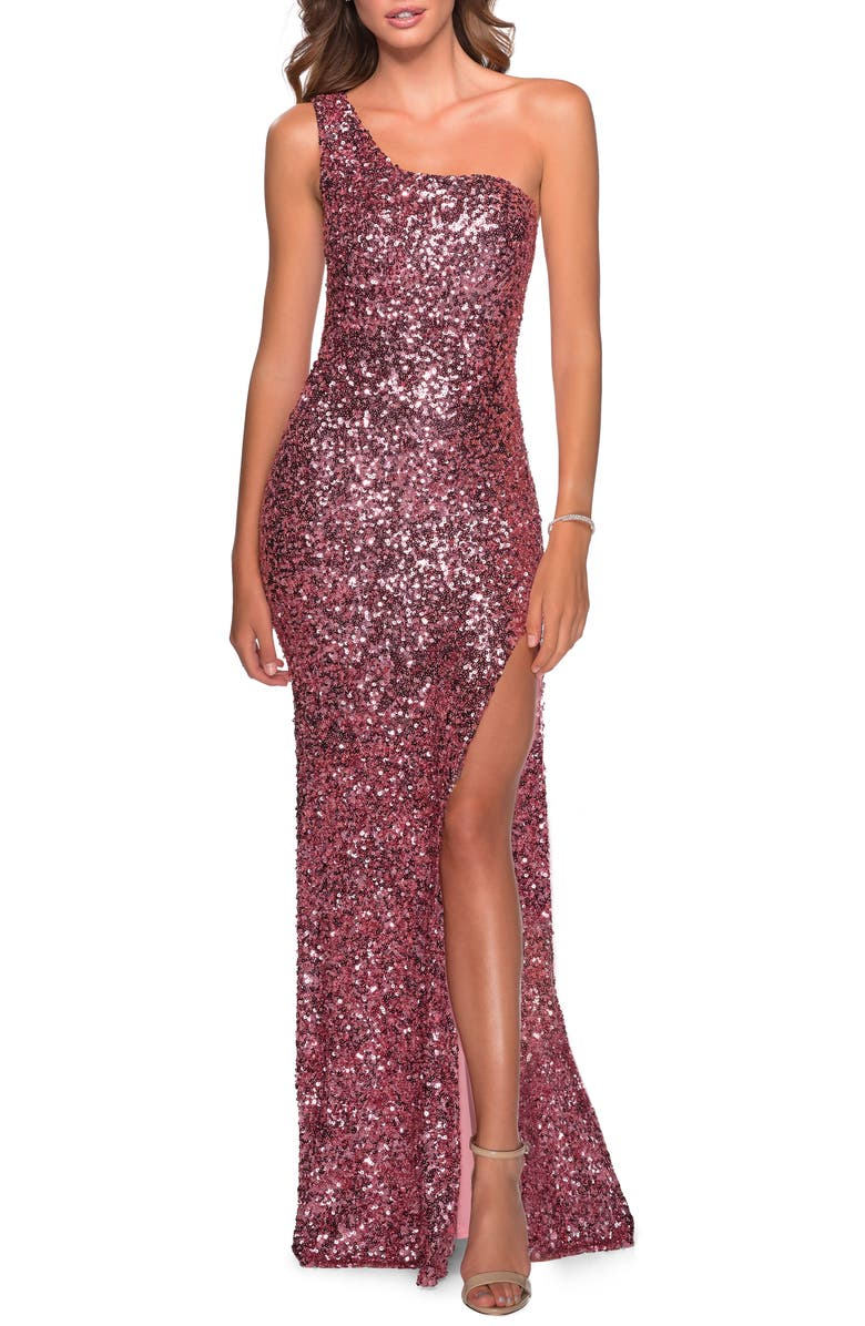 LA FEMME One-Shoulder Sequin Gown, Main, color, PINK
