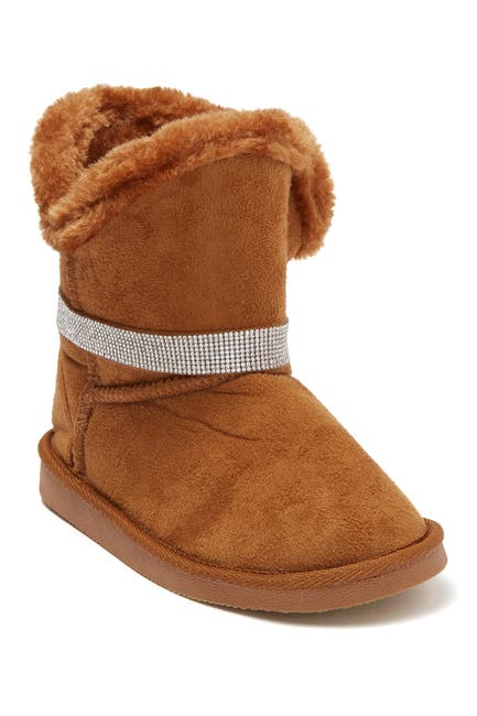 Image of bebe Rhinestone Trim Faux Fur Lined Winter Boot