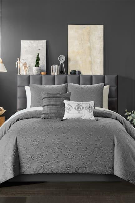 Image of Chic Home Bedding Magna Embossed Scroll Medallion Design Queen Comforter Set - Grey - 5-Piece Set