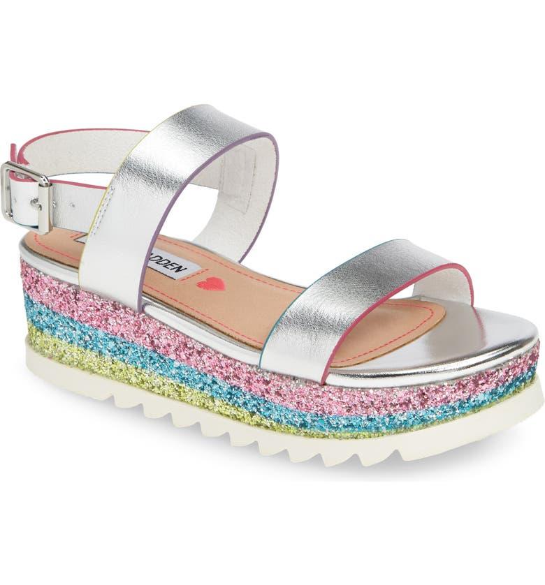 STEVE MADDEN JKENNIE Glitter Platform Sandal, Main, color, 040