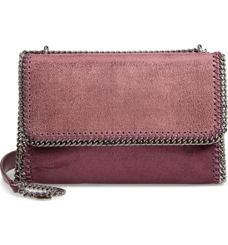 STELLA MCCARTNEY Falabella Shaggy Deer Metallic Faux Leather Shoulder Bag, Main, color, PURPLE/ BURGUNDY