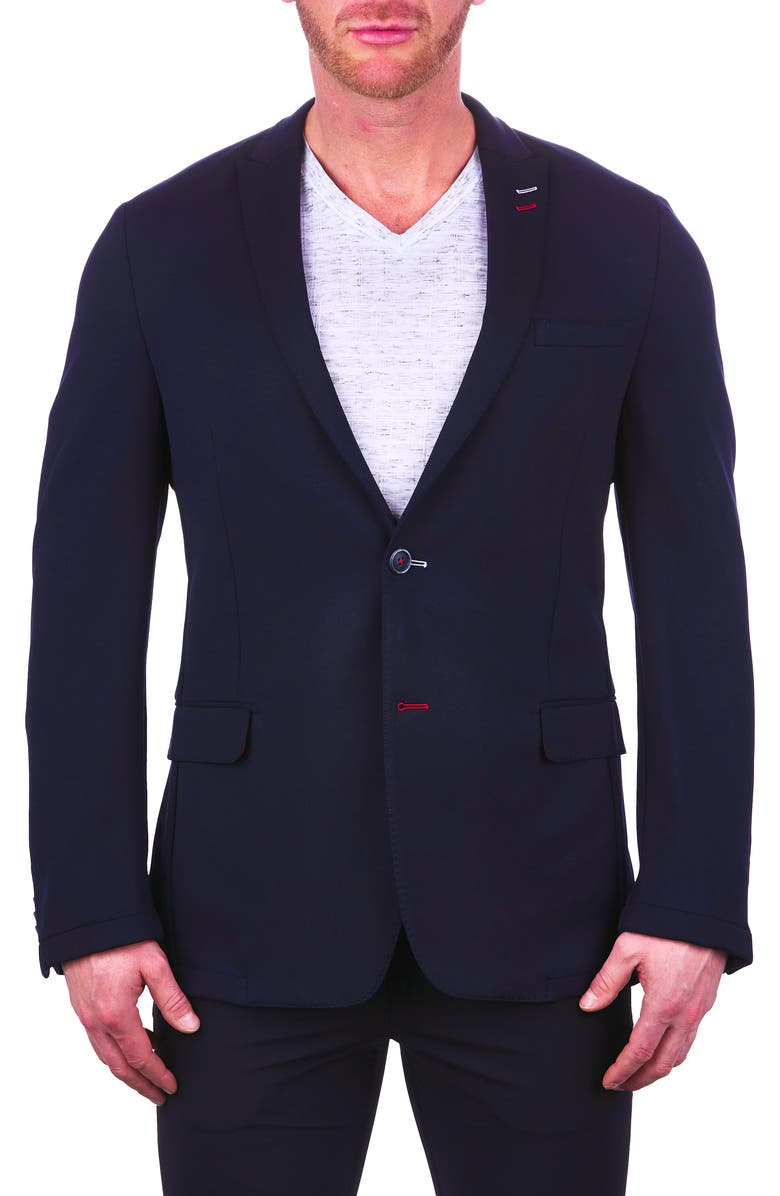 MACEOO Unconstructed Navy Stretch Scuba Blazer, Main, color, 420