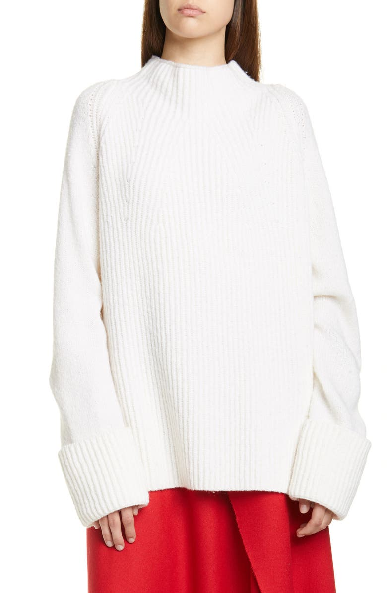 VINCE Mix Stitch Funnel Neck Wool Sweater, Main, color, CREAM