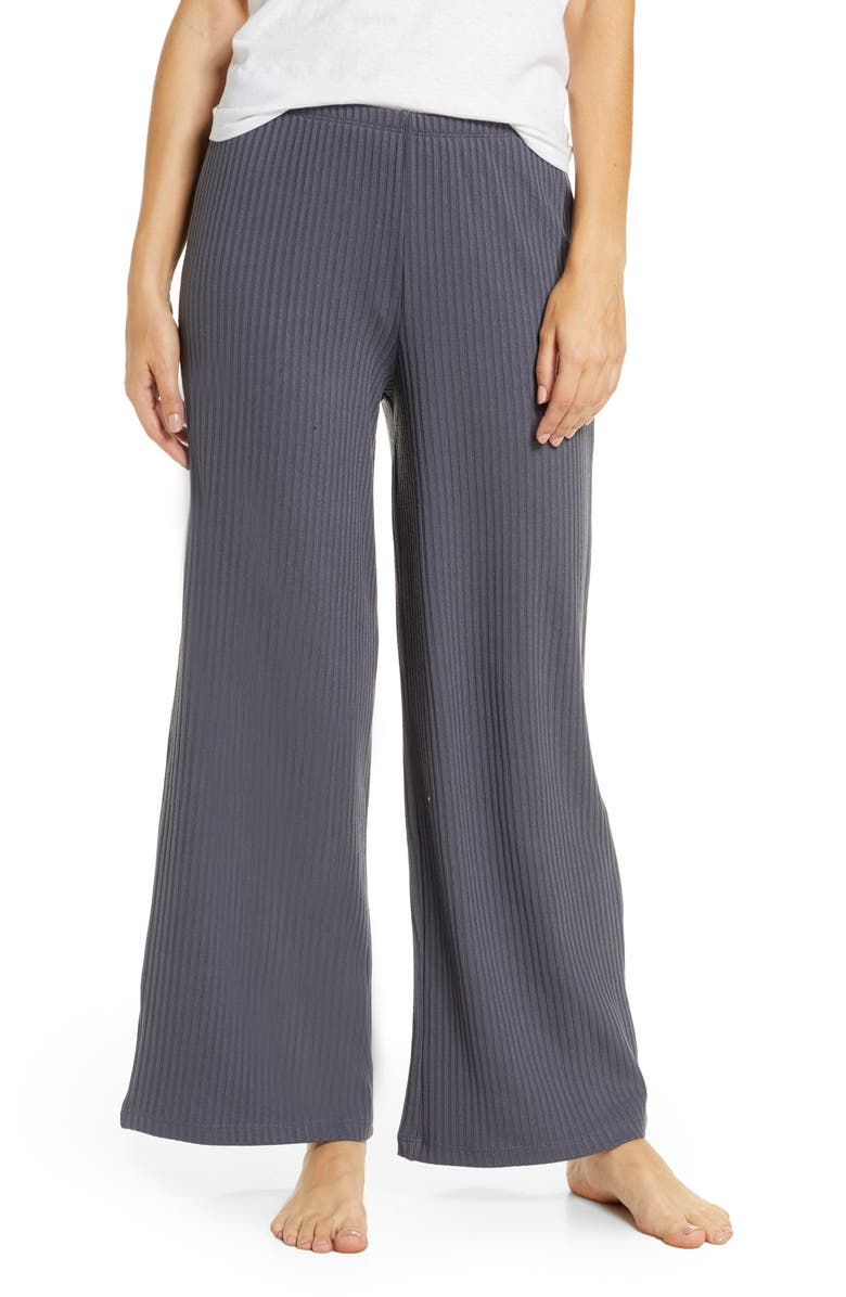 TOPSHOP Ribbed Slouch Wide Leg Pants, Main, color, 020