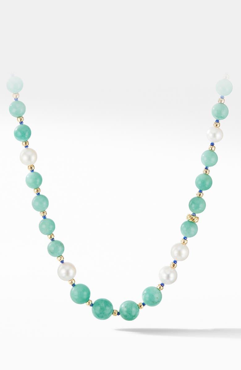 DAVID YURMAN Long Graduated Amazonite, Lapis & Pearl Necklace with 18K Yellow Gold, Main, color, AMAZONITE