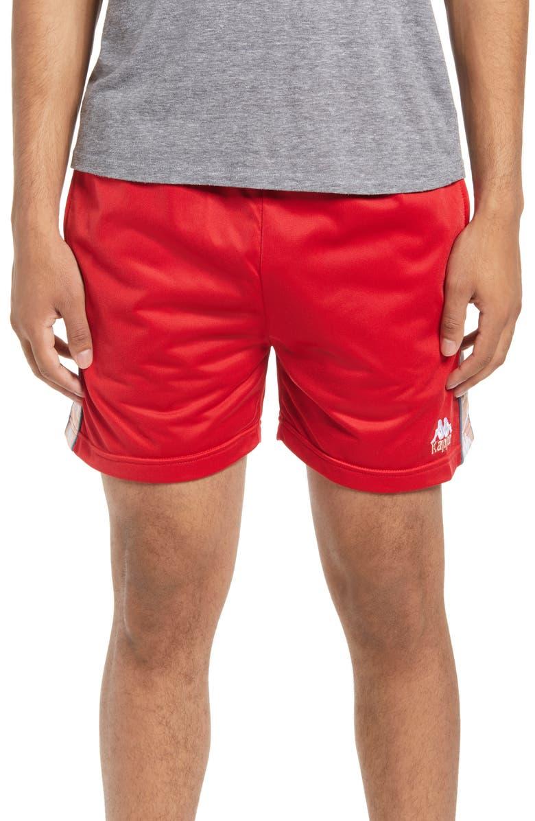 KAPPA 222 Banda Cole Athletic Shorts, Main, color, RED/ PINK/ WHITE
