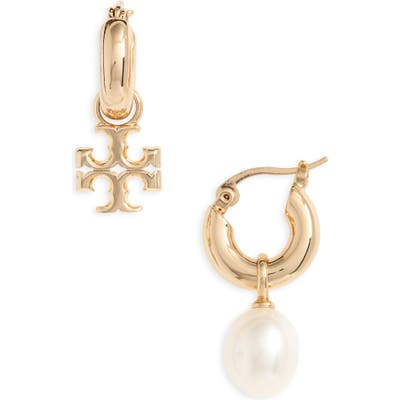 Tory Burch Kira Mismatched Pearl Drop Earrings