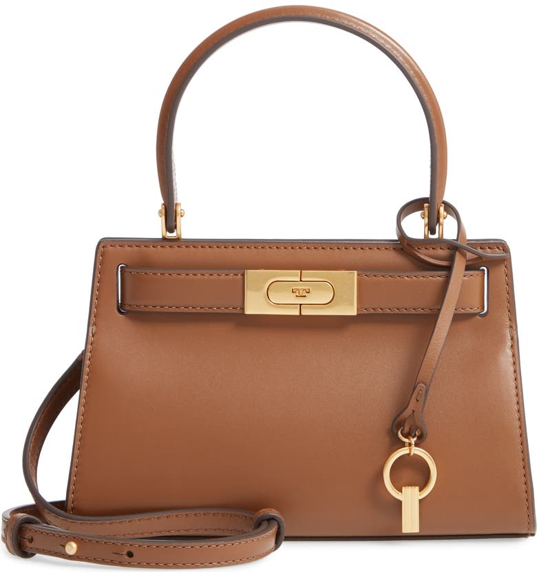 TORY BURCH Mini Lee Radziwill Leather Bag, Main, color, MOOSE