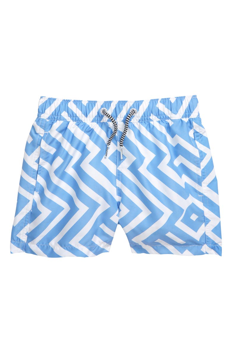 BOARDIES Santa Clara Swim Trunks, Main, color, BLUE/ WHITE