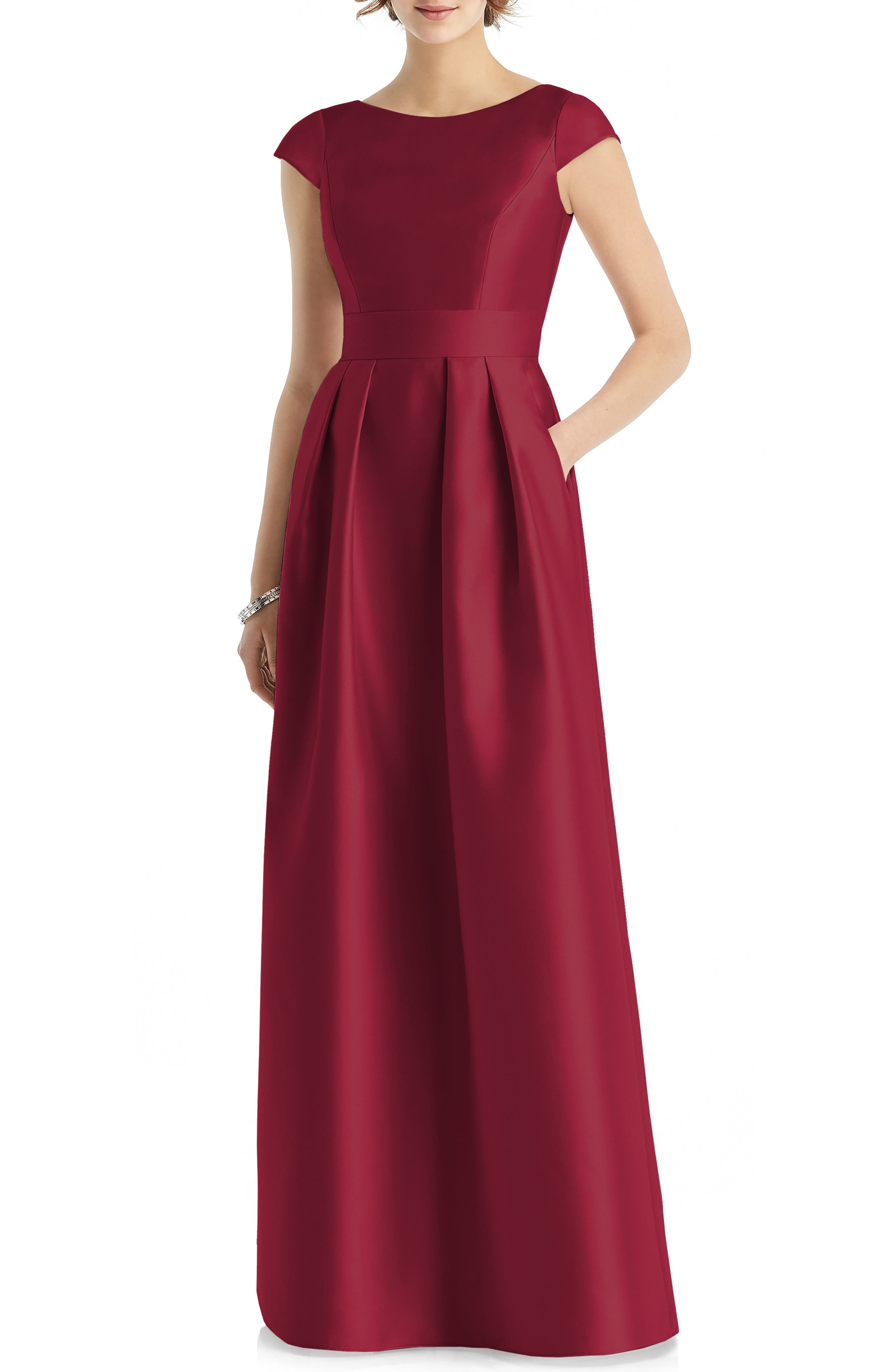 Alfred Sung Cap Sleeve Gown, Burgundy