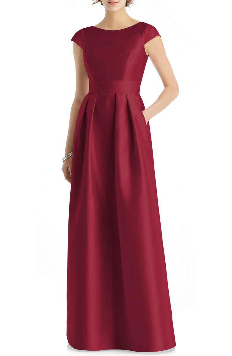 ALFRED SUNG Cap Sleeve A-Line Gown, Main, color, BURGUNDY