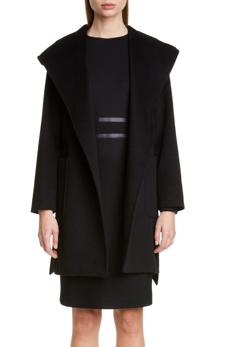 MAX MARA Rialto Hooded Camel Hair Coat, Main, color, BLACK