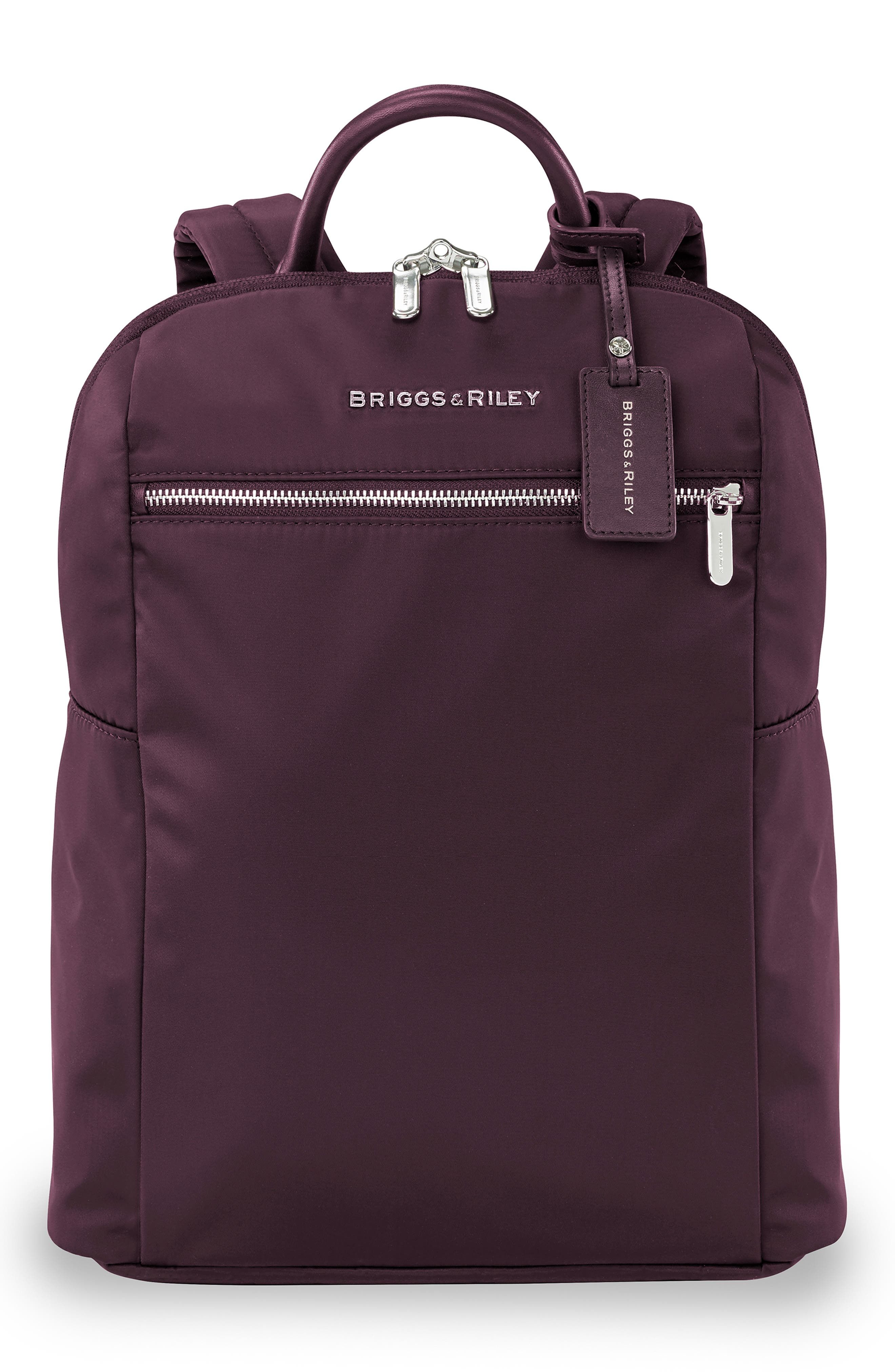 Fine metallic branding touches up a slim, modern backpack built from lightweight micro-weave tech fabric to resist moisture and abrasion. Style Name: Briggs & Riley Slim Backpack. Style Number: 5854884. Available in stores.