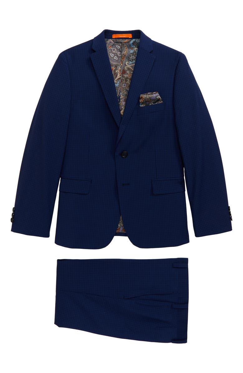 TALLIA Check Wool Blend Two-Piece Suit, Main, color, 400