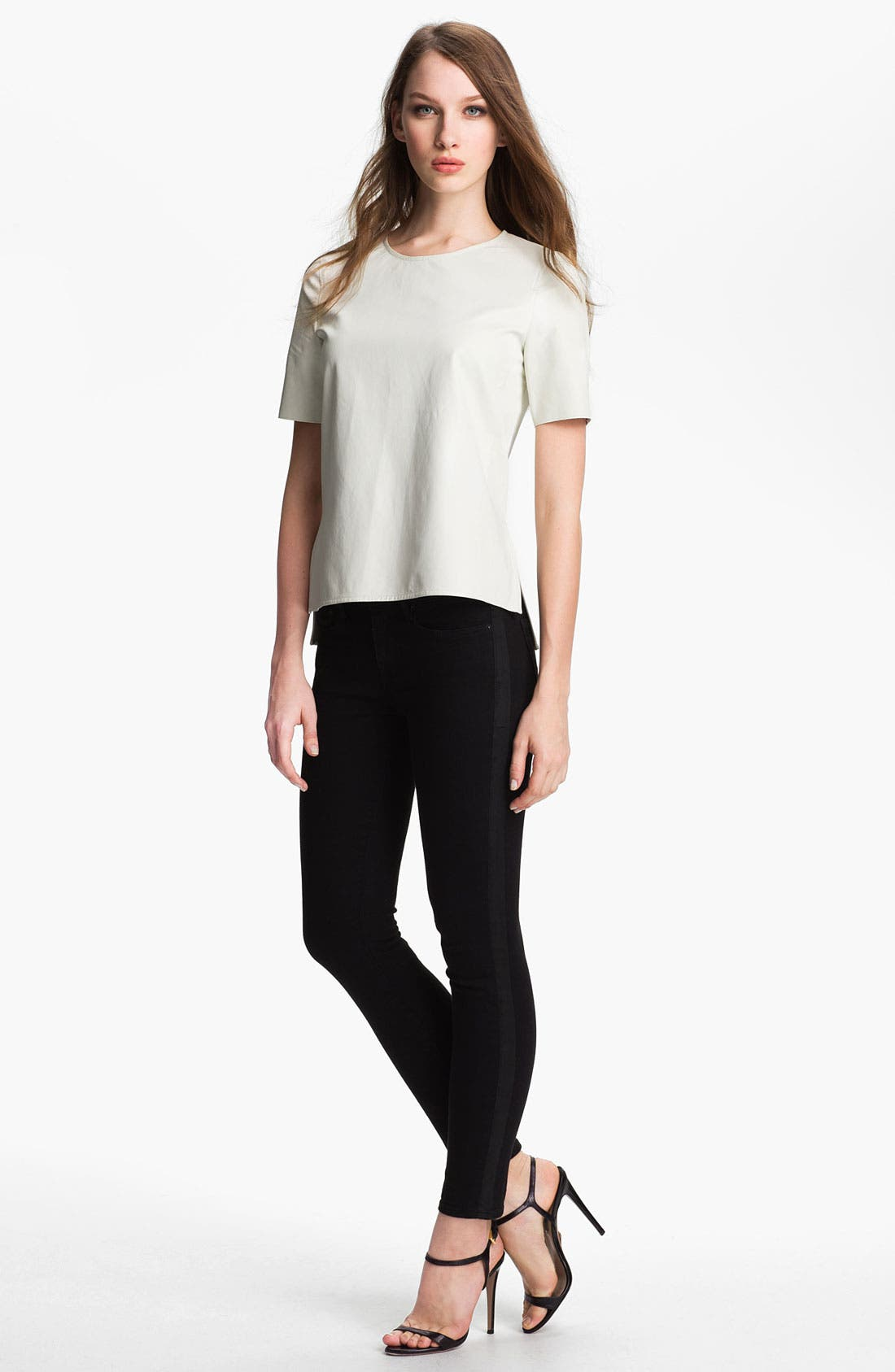 ,                             Leather Tee,                             Alternate thumbnail 9, color,                             100
