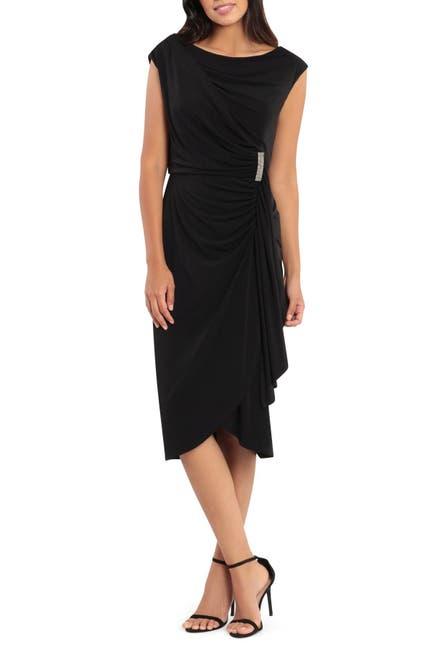Image of London Times Sleeveless Ruched Drape Front Sheath Dress