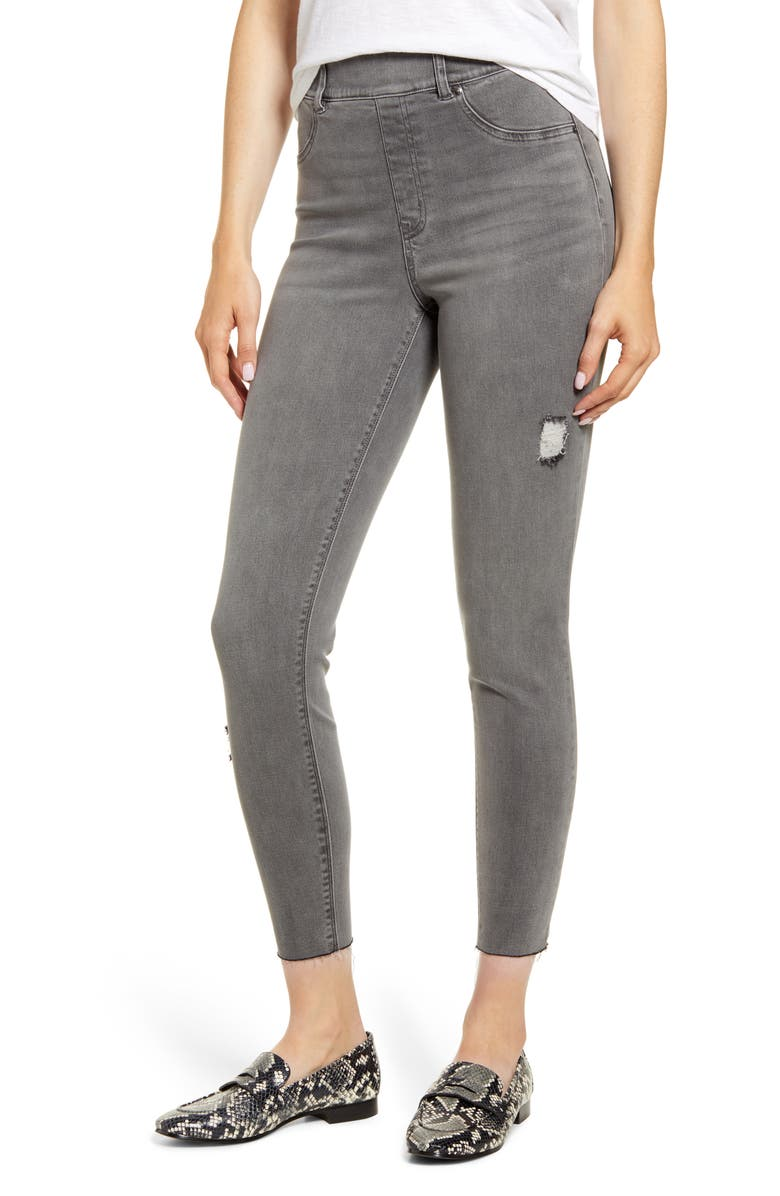 SPANX<SUP>®</SUP> Distressed Skinny Denim Leggings, Main, color, VINTAGE GREY