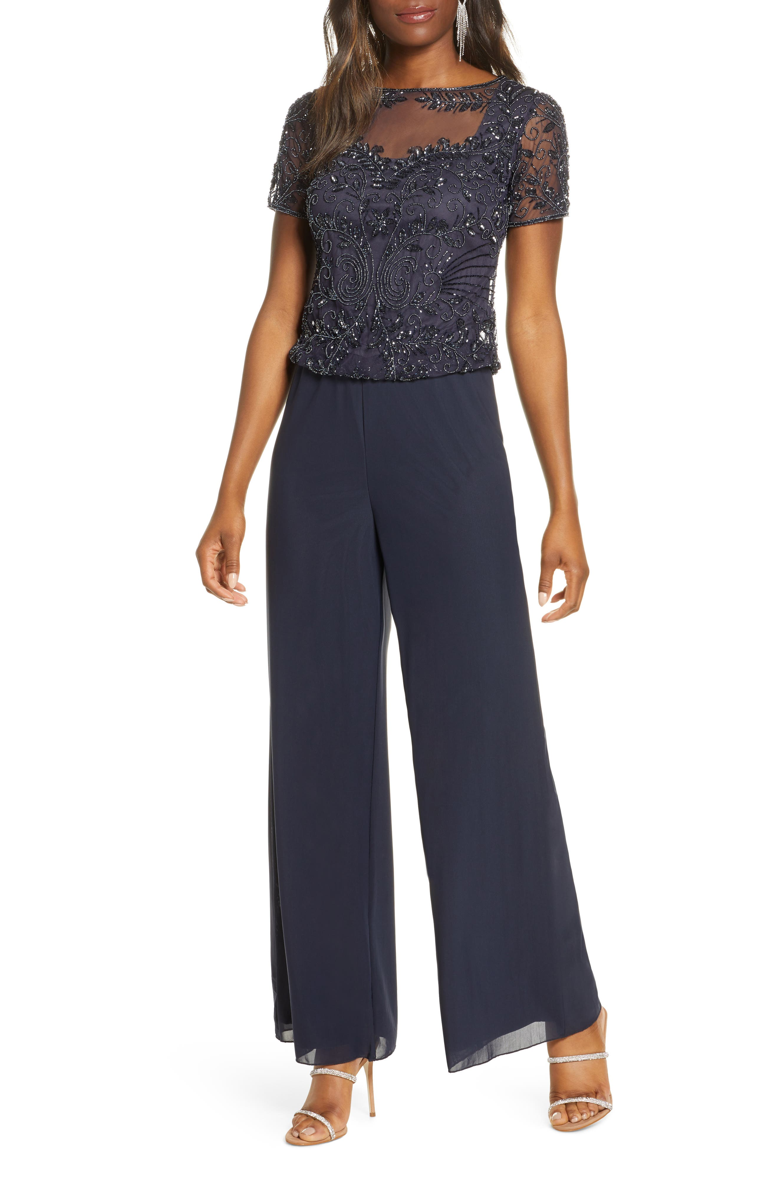 Pisarro Nights Beaded Mock Two-Piece Jumpsuit