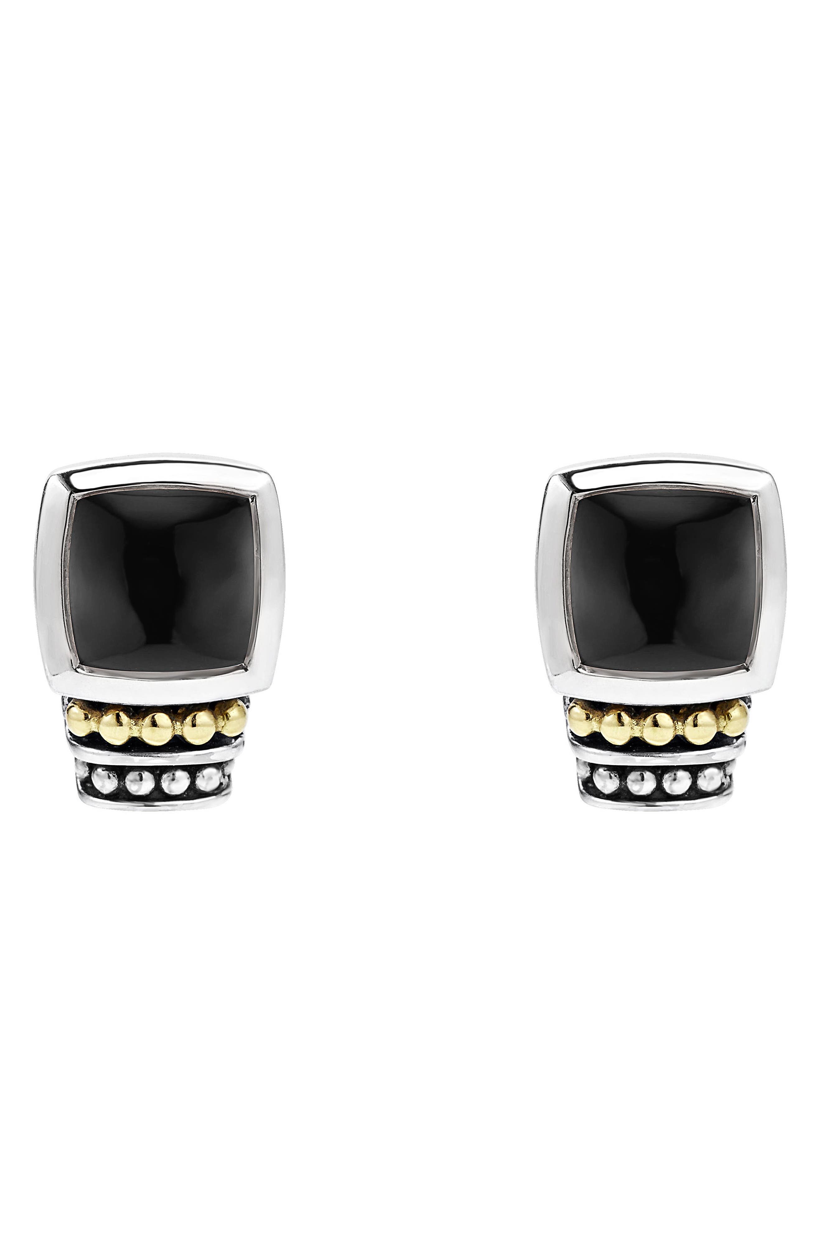 ,                             'Caviar Color' Semiprecious Stone Stud Earrings,                             Alternate thumbnail 3, color,                             BLACK ONYX