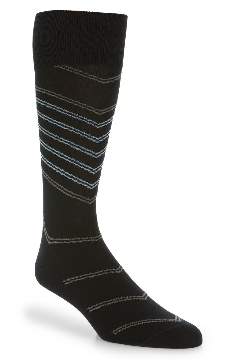 NORDSTROM SIGNATURE Diagonal Pinstripe Cotton Blend Socks, Main, color, BLACK/ GREY