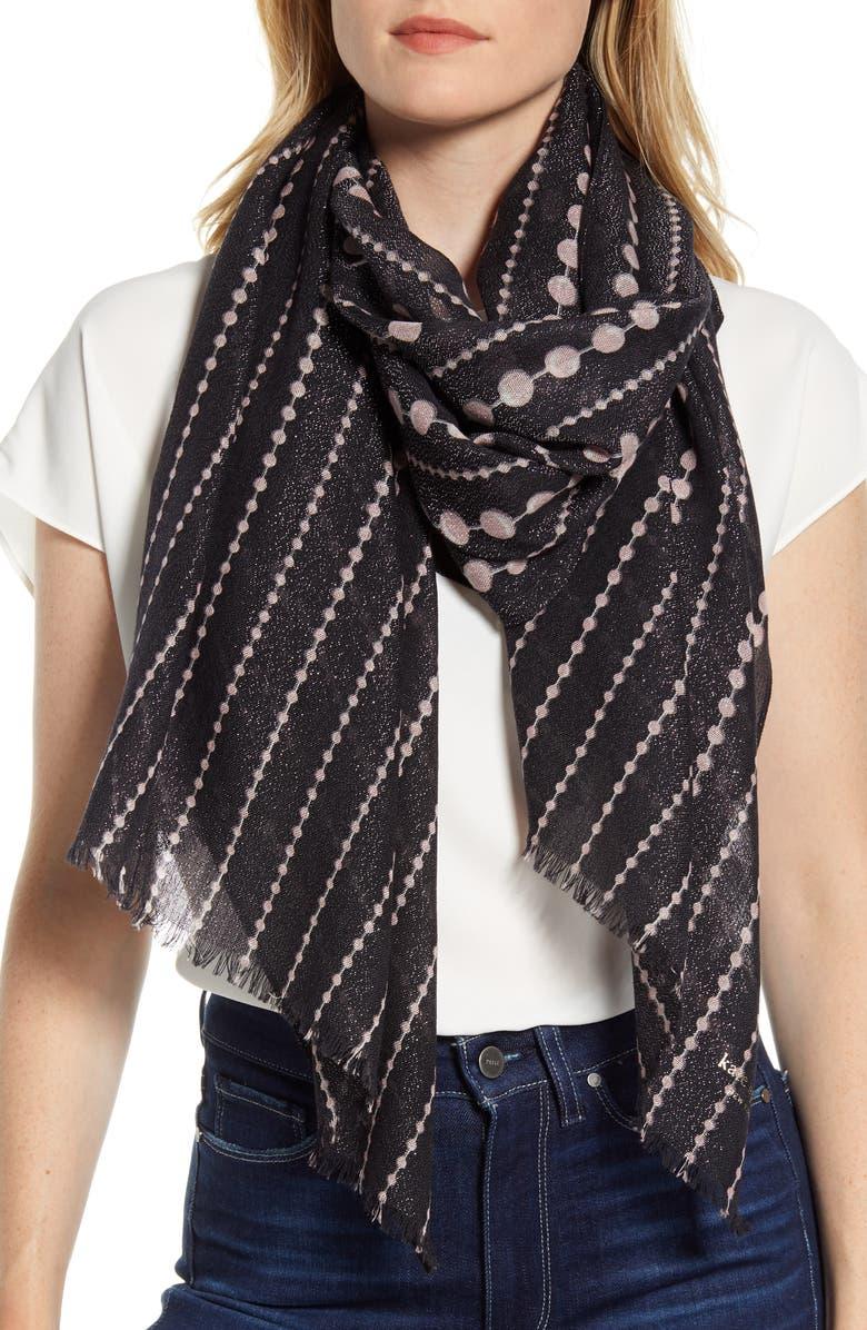 KATE SPADE NEW YORK pearl drops scarf, Main, color, BLACK