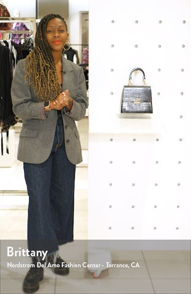 Crocodile Embossed Flap Handbag, sales video thumbnail