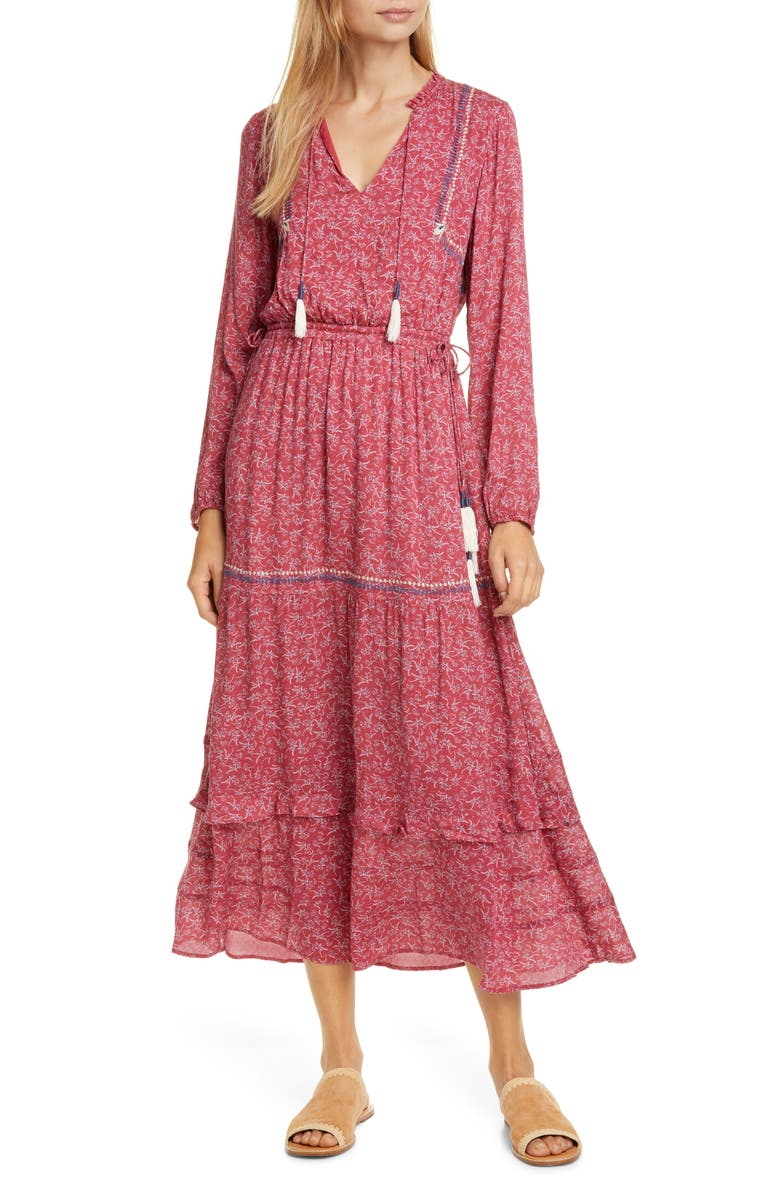 DOLAN Tassel Tie Maxi Dress, Main, color, RASPBERRY LAUREL PRINT