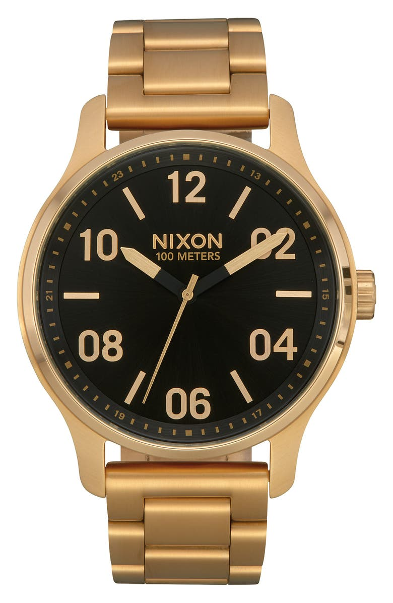 NIXON Patrol Bracelet Watch, 44mm, Main, color, GOLD/ BLACK
