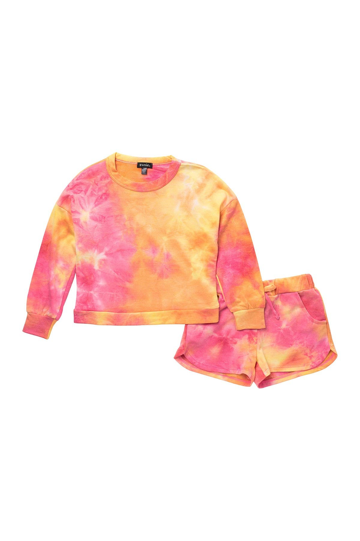 Image of Zunie Tie Dye Pullover & Jogger Shorts Set