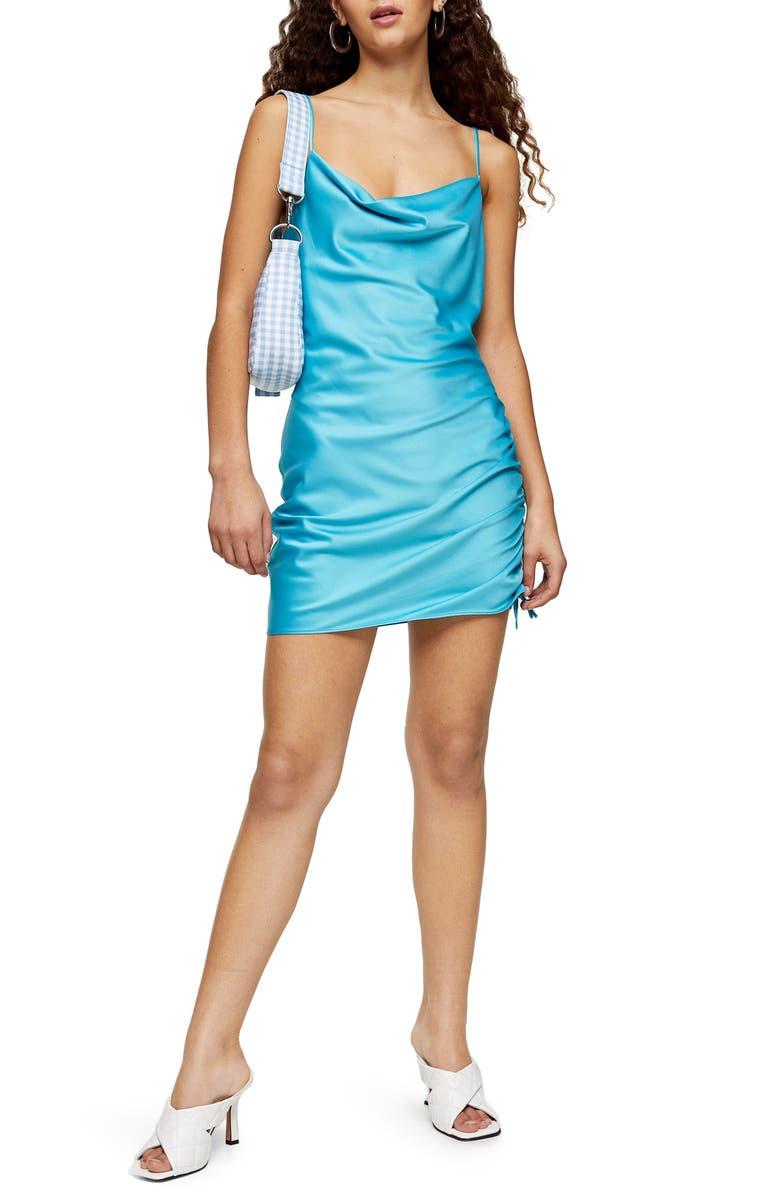 TOPSHOP Ruched Satin Mini Slip Dress, Main, color, TEAL