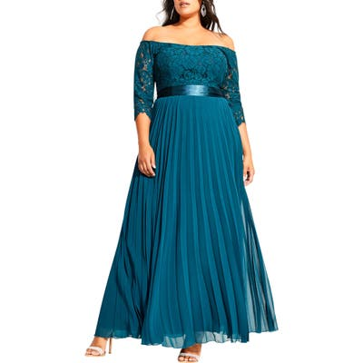 Plus Size City Chic Intriguing Off The Shoulder Lace Bodice Maxi Dress, Green