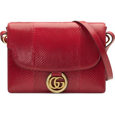Gucci Medium Gg Ring Genuine Python Shoulder Bag - Red