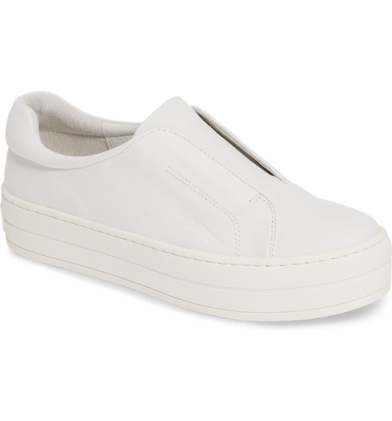 JSLIDES Heidi Platform Slip-On Sneaker, Main, color, WHITE LEATHER