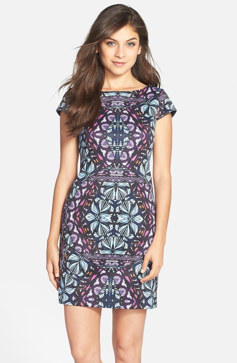 VINCE CAMUTO Graphic Print Scuba Shift Dress, Main, color, 498