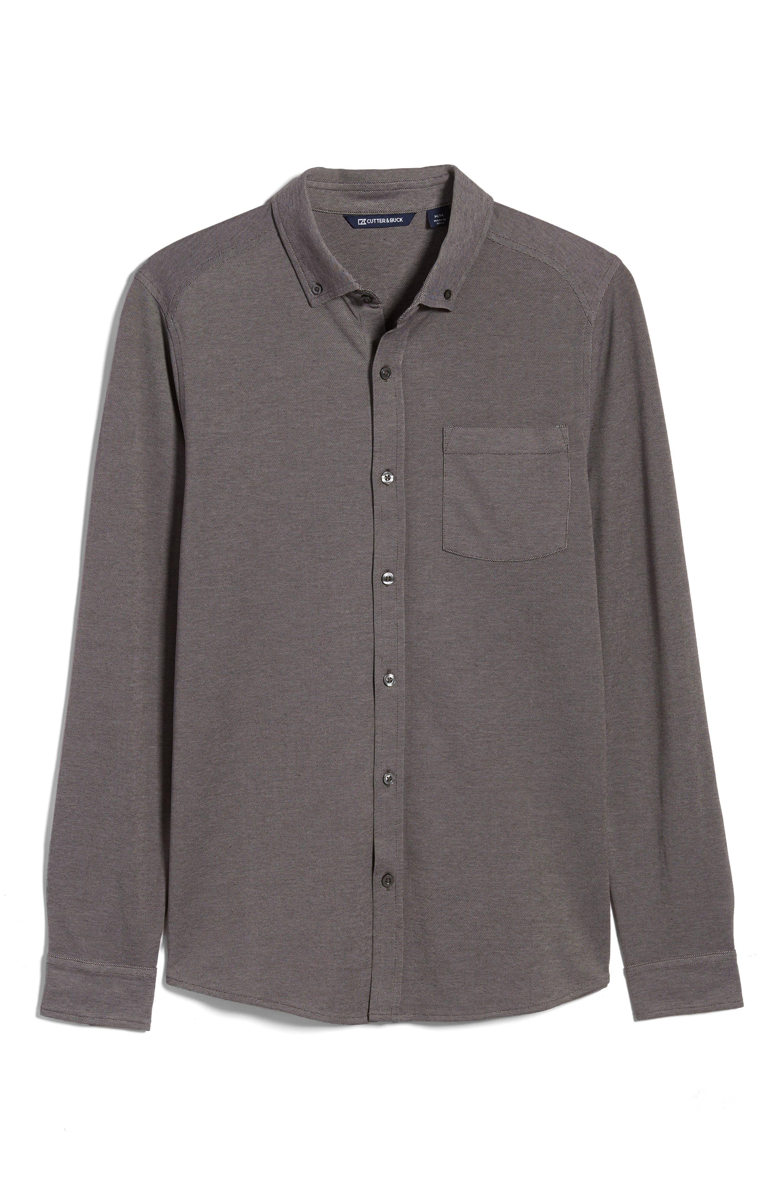 A two-tone pique knit furthers the easy, relaxed look of an oxford shirt styled with a smart button-down collar and an added touch of stretch for comfort. Style Name: Cutter & Buck Reach Button-Down Pique Knit Shirt. Style Number: 6054916. Available in stores.