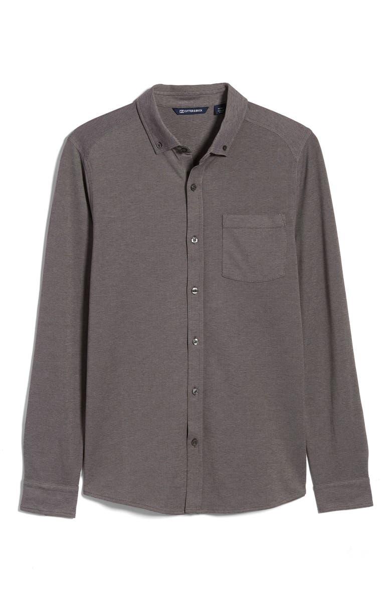 CUTTER & BUCK Reach Button-Down Piqué Knit Shirt, Main, color, CHARCOAL
