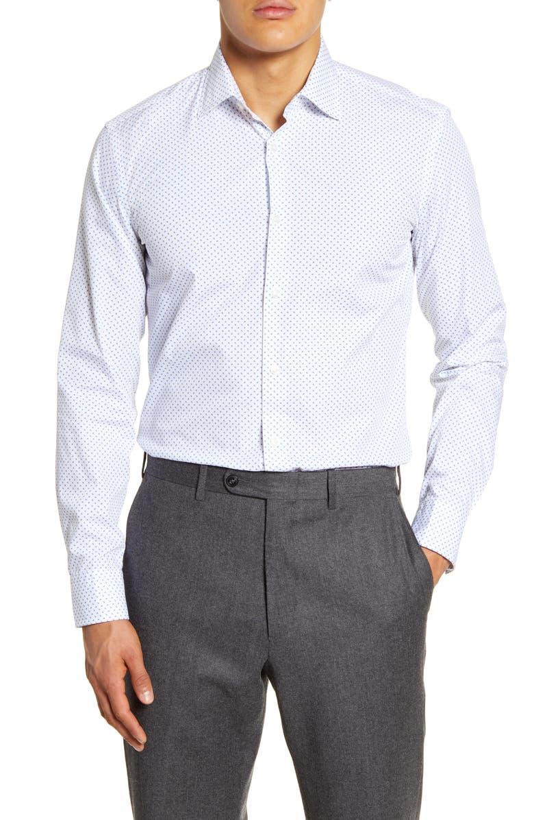 BOSS Slim Fit Print Dress Shirt, Main, color, 100