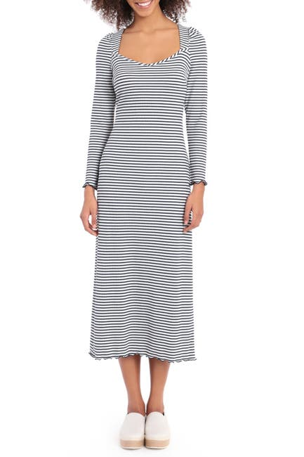 Image of Maggy London Long Sleeve Midi Rib Knit Dress