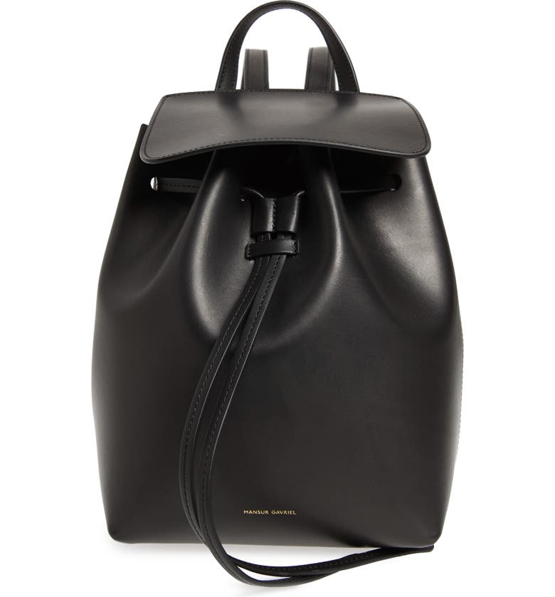 MANSUR GAVRIEL Mini Leather Backpack, Main, color, BLACK/ FLAMMA