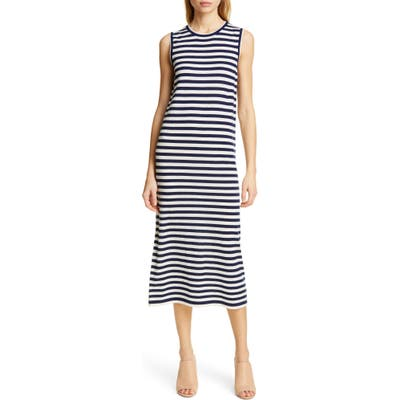 Jenni Kayne Stripe Sleeveless Merino Wool Midi Dress, Blue